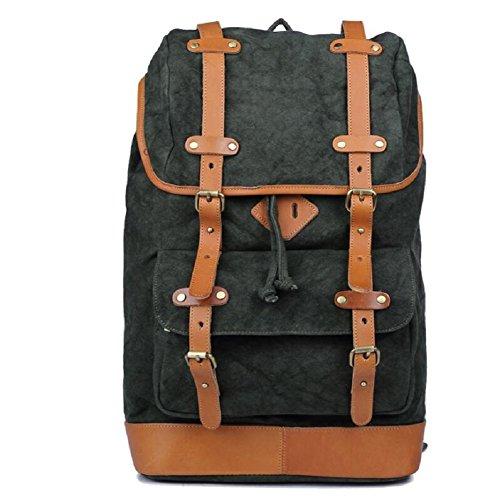 LJ&L Estilo europeo estilo retro bandolera, mochila de lona de los hombres, la moda de alta calidad mochila impermeable, resistente al desgaste de excursión mochila,B,18-25L B