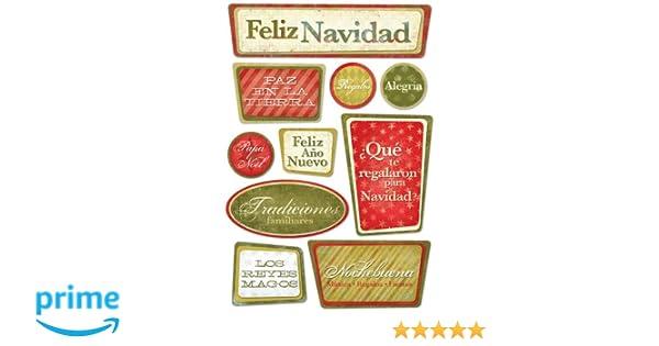 KAREN FOSTER Design Acid and Lignin Free Scrapbooking Sticker Sheet, Spanish Christmas
