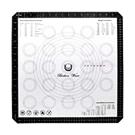 Beckon Ware XL Silicone Baking Mat 18 Inch Oven Liner for Pizza, Pastry, Cookies, Dough Rolling, Fondant, Pie Crust Etc. Black 44 NO NEED FOR PANS: If you never used a silicone baking mat before it is life changing. No need to brush oil on the silpat mat when baking food as it is easy to be separated. This mat can be used as a non-stick sugar pastry mat as well. Prep foods and store on mat in refrigerator and transfer directly to oven. YOU HAVE OPTIONS BABY: Cook like a professional with this interesting find. Are you a pastry chef? Or do you just like baking and cooking? This mat is for you. Roll it, shape it, bake it! Cookies, Pizza, Pies, Wings, Fries, Roasted Veggies, etc. Use conversion charts for easy guide measurements. So no more guesswork or internet look-ups. Cookie and dough circles to guide your dough and pastry size. Extra large pizza is NOT a problem either. Go for it! STATE OF THE ART: Nothing to worry about when Beckon Ware is behind the product. This mat goes sub degrees -40 to 482 Fahrenheit. Our silicone baking mat passed the inspections of SGS, FDA, and LFGB. This unique mat is composed of fiberglass and is coated on both sides with non-stick silicone, allowing for the dough to be rolled out effortlessly.