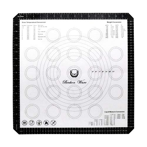 Beckon Ware XL Silicone Baking Mat 18 Inch Oven Liner for Pizza, Pastry, Cookies, Dough Rolling, Fondant, Pie Crust Etc. Black ()