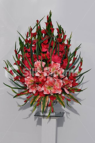 Gran Gorgeous Artificial Rojo Gladiolos Y Amaryllis Arreglo