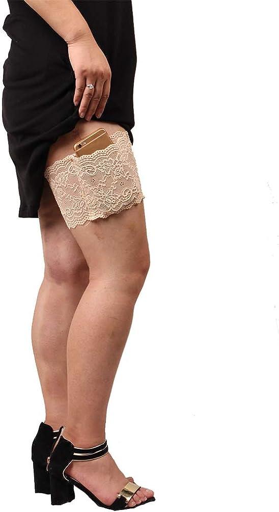 Damen Oberschenkel Strumpfbend Anti-Chafing Bands Anti-Rutsch Oberschenkelb/änder Oberschender Socke mit Tasche