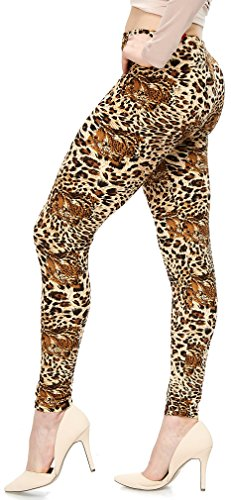 LMB | Women's Extra Soft Leggings | Variety of Prints | One Size | Animal Print -
