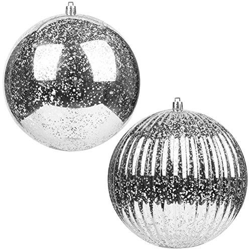 KI Store Christmas Ball Ornaments Hanging Tree Ornament Decorations 6 Super Large Shatterproof Vintage Mercury Balls(Silver)
