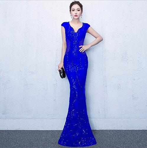 WBXAZL Vestido de Noche, Vestido de Cola de pez, Ladies' Kit de capacitacion, Vestido de Moda Anual Azul