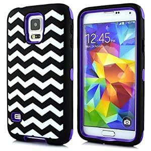 WEV 2 in 1 Waves Robot Style PC and Sillcone Composite Case for Samsung Galaxy S5 I9600(Assorted Colors)