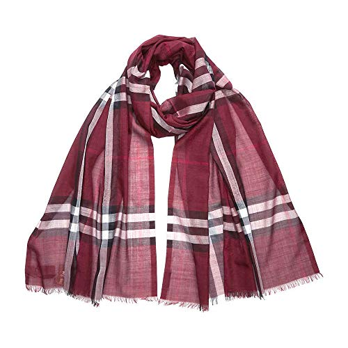 - Burberry Lightweight Check Wool and Silk Scarf- Plum Check