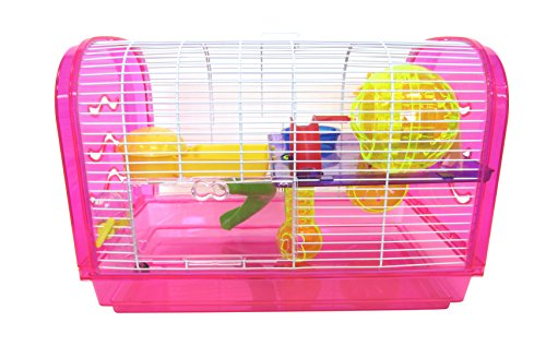 YML Clear Plastic Dwarf Hamster Mice Cage Dome with Color...