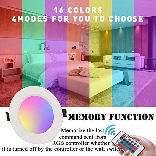 (5-PACK)LED Einbaustrahler 230v flach Dimmbar 16 Farben mit Fernbedienung 10W RGBW Led Spot Deckenstrahler 4 Farbprogramme Rund LED Panel Lampe Dekorative Leuchtmittel decke für Flur Wohnzimmer