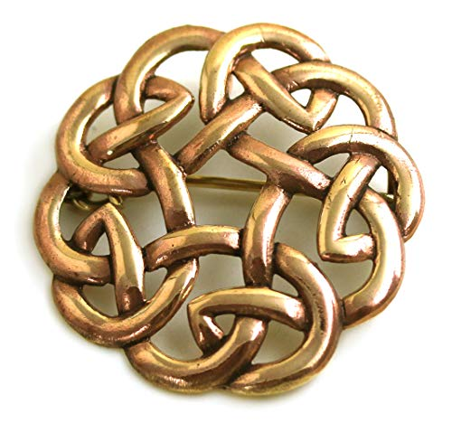 LynnAround Bronze Gold Filigree Brooches, Clothes Fasteners - Cloak, Shawl, Scarf Pin, Celtic Irish Norse Vintage Jewelry
