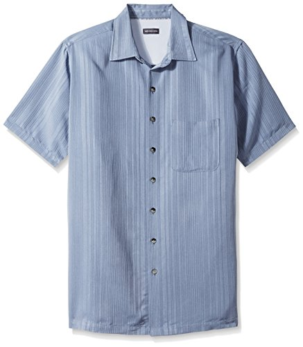 Van Heusen Men's Size Big and Tall Air Short Sleeve Button Down Poly Rayon Stripe Shirt, Deep Blue Jeans, Large
