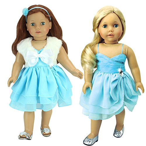 3 Pc Set, 18 Inch Doll Clothes Fits American Girl Dolls & More! Jeweled Aqua Ruffle Dress, Jeweled Accent Headband, White Sleeveless Faux Fur Jacket and Tie