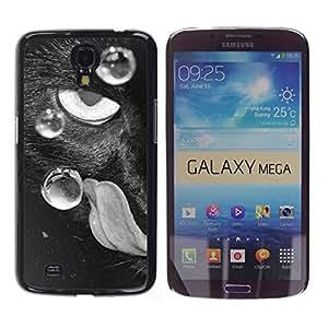 Qstar Arte & diseño plástico duro Fundas Cover Cubre Hard Case Cover para Samsung Galaxy Mega 6.3 / I9200 / SGH-i527 ( Eye Cat Black White Tongue Feline Art Dots)
