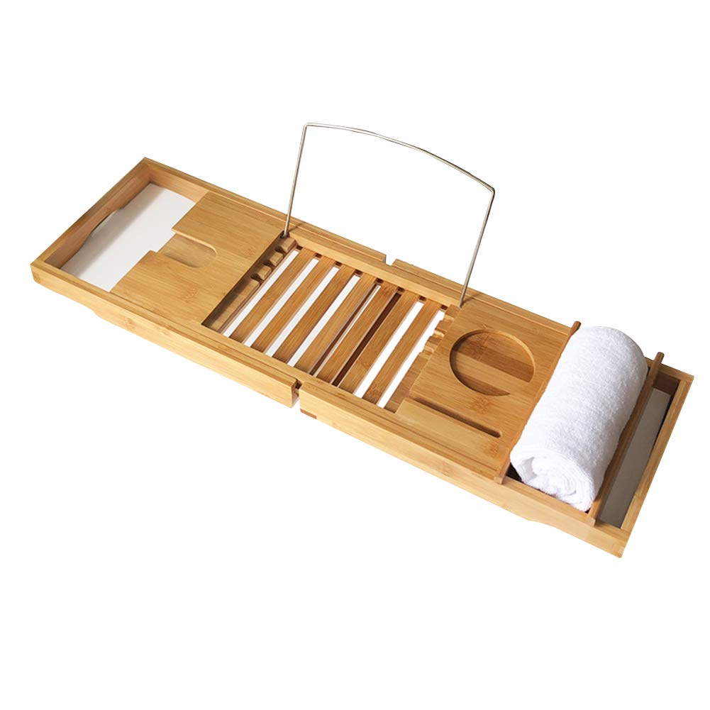 Bamboo Bathtub Caddy Tray,Natural,ecofriendly Wood Integrated Tablet Phone Wine Book Holders(Adjustable)-a 70x106cm(28x42inch)
