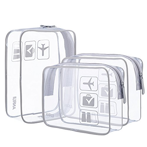 ANRUI Clear Toiletry Bag TSA Approved Travel Carry On Airport Airline Compliant Bag Quart Sized 3-1-1 Kit Travel Luggage Pouch 3 Pack (Grey) (Zip Top Plastic Bags For Air Travel)