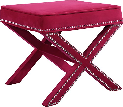 Meridian Furniture 126Pink Nixon Collection Modern | Contemporary Pink Velvet Upholstered Ottoman/Bench with X-Leg Design, Chrome Nailhead Trim, Solid Wood Frame, - Nailheads Pink