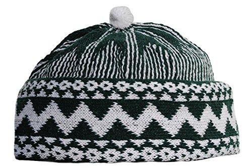 Warm Dark Green Zigzag Design Muslim Beanie Kufi Hat Crown with White Ball - Stretchable Onesize - Zig Green Zag