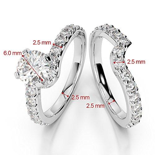 Or blanc 18carats 1CT G-H/VS Certifié Coupe ronde tanzanite et diamants Mariage Bague de fiançailles et ensemble de Agdr-2003
