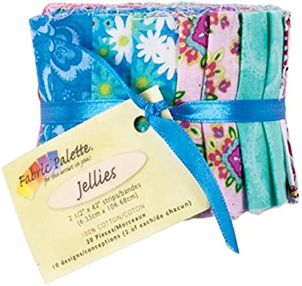 Fabric Editions 2.5 by 42-Inch Jellies Fabric Palette, 20-Pack, Punch of Paisley MD-G-JL-PP