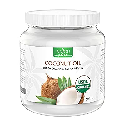 Anjou 56 fl.oz Coconut Oil, Organic Extra Virgin, Cold Pressed Unrefined for Hair, Skin, Cooking, Health, Beauty, USDA Certified from Anjou
