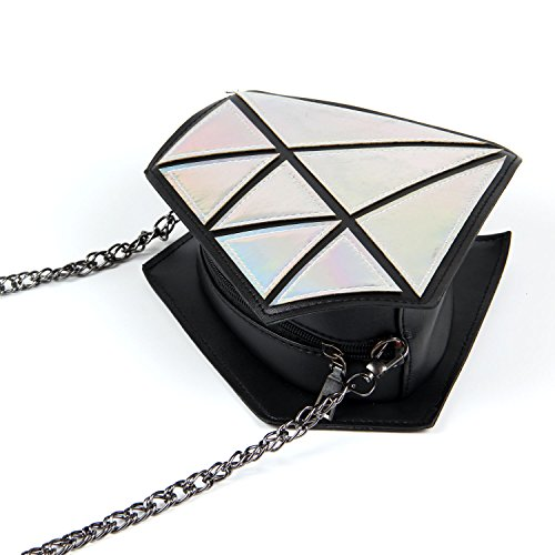 Chain Diamond Shoulder Women Leather Shape Purse Silver PU Evening Girls for Kuang Bag Laser 8qIB5