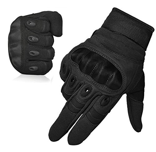 Men's Outdoor Tactical Gloves Full Finger Military Combat Batting Cycling Motorcycle Gloves Hiking Racing Fitness Gloves- Black, L