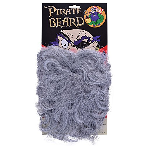 Bristol Novelty MB052 Wavy Pirate Beard Grey, Mens, One Size ()
