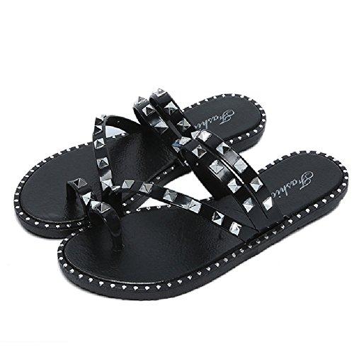 Btrada Fashion Womens Sandals-Summer Beach Clip Toe Flip Flops-Anti-Slip Flats Black 2Yw8z