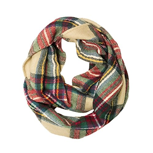 Wrapables Plaid Print Infinity Scarf, Red and Green