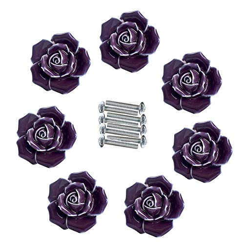 Handle Knobs, Elegant Pink Rose Pulls Flower Ceramic Cabinet Knobs Cupboard Drawer Pull Handles + Screw Furniture Handle knob Ornament(8 Pieces) (Purple) (Drawer Pulls Flower)