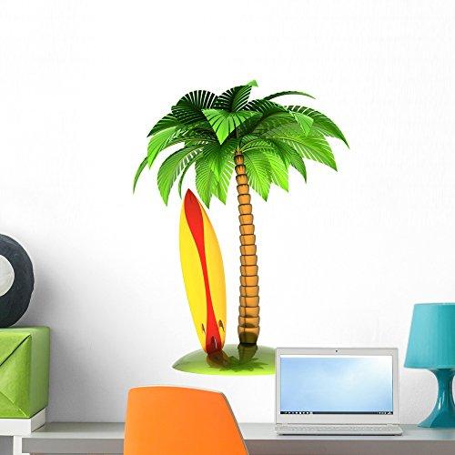 Wallmonkeys Surfboard Palm Tree and Wall Decal Peel and Stick Graphic (24 in H x 18 in W) WM103648 by Wallmonkeys
