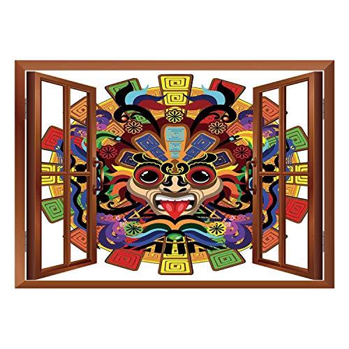 SCOCICI Window Mural Wall Sticker/Mesoamerican Decor,Colorful Aztec Warrior Mask Seremony Tattoo Style Devotion Manuscript Scary Wonders,/Wall Sticker Mural