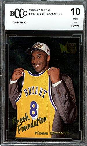 97 Rookie Card (1996-97 metal #137 KOBE BRYANT FF los angeles lakers rookie card BGS BCCG 10 Graded Card)