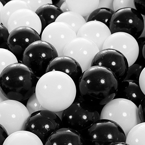 Lofty 100 Pieces Ball Pits - 2.15 inch White Black Pit Balls Children Plastic Ocean Ball Swim Toys Balls For Kids Playhouse Pool Accessories by Lofty