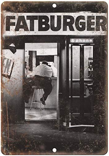 カウンターでファットバーガー男 金属板ブリキ看板注意サイン情報サイン金属安全サイン警告サイン表示パネル