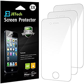 JETech 3 Pack IPhone 4 4s Screen Protector Film Retail Packaging For Apple