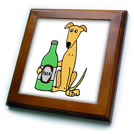 3D Rose Cool Funny Greyhound Puppy Dog with Big Beer Bottle Framed Tile 8