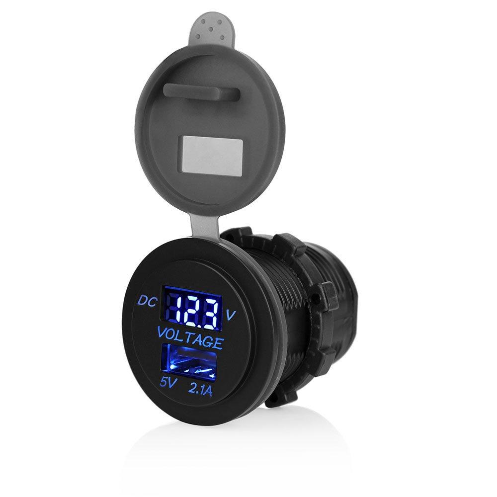 OurLeeme LED voiture 2.1A USB Socket chargeur avec sortie Voltmè tre Modification Accessoire pour moteur de moto Camion VTT Bateau 12-24 Bleu