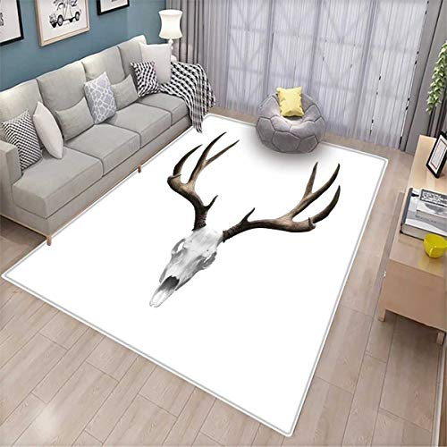 Antlers Decor Girls Bedroom Rug A Deer Skull Skeleton Head Bone Halloween Weathered Hunter Collection Bath Mats for Floors