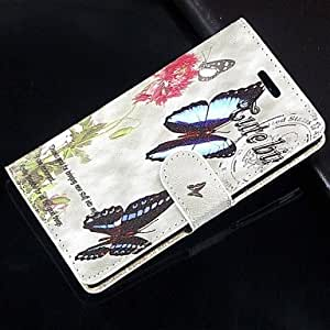LCJ Flowers and butterflies PU Leather Full Body Wallet Protective Case with Stand and Card Slot For Samsung Galaxy S6 G9200