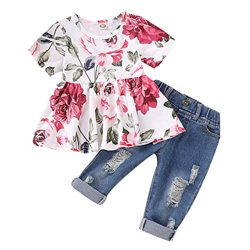 CARETOO 2Pcs Girls Clothes Outfits, Baby Girl Flower Floral Short Sleeve Shirt Tops+ Ripped Jeans Denim Pants Sets -