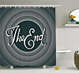 Ambesonne 1950s Decor Collection, Vintage Movie Ending Screen Camera Hollywood Industry Historic Entertainment Film Television Image, Polyester Fabric Bathroom Shower Curtain Set with Hooks, Grey