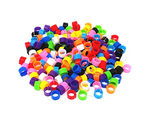 HONBAY 200pcs Mix Color 8mm Foot Ring Bands Bird Clip on Leg Rings for Pigeon Dove Chicks Bantam Quail Lovebirds Finch Small Poultry - Bird Leg