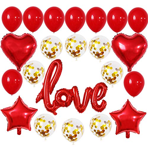 GOER I LOU YOU Foil Balloons,23 Pcs Red Balloon Set for Valentine's Day Propose Weedding Decorations Party Supplies]()