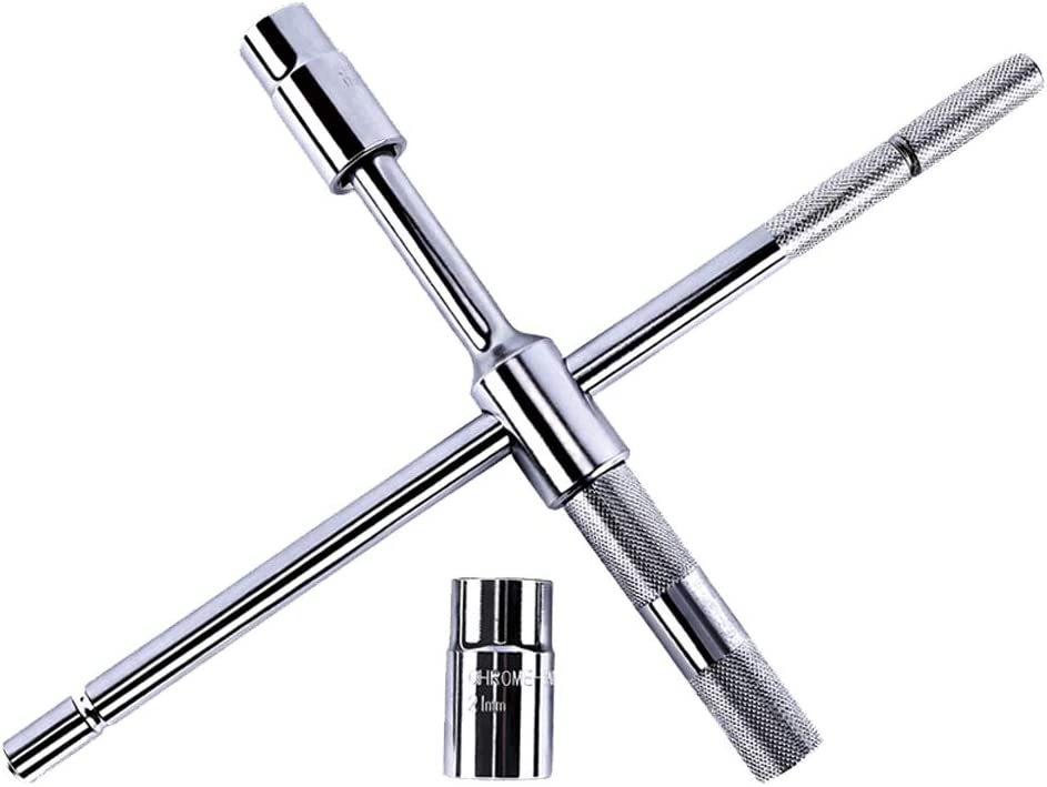 KvSrr Universal Tire iron Nut Lug Wrench 4 Way Detachable and Portable Pockets size 17mm 19mm 21mm 23mm: Home Improvement