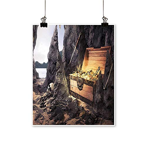 1 Piece Wall Art Painting Treasure Ch Golds and Sword Cave Pirate Fairy Charcoal Grey Amber Living Room Office Decoration,16