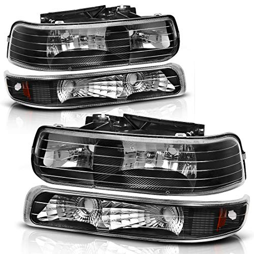 For 99-02 Chevrolet Silverado 1500 2500/01-02 Chevy Silverado 1500HD 2500HD 3500HD / 00-06 Chevy Tahoe Suburban 1500 2500 Headlight Assembly Black Housing Headlamp with Bumper Lights