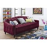 9 by Novogratz Vintage Tufted Sofa Sleeper II, Burgundy Velour