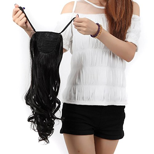 Binding Tie up Synthetic Ponytail Clip in Hair Extensions One Piece Drawstring Pony Tail Long Wavy Curly Soft Silky for Women Fashion and Beauty 18'' / 18 inch (natural (Sexy Ponytails)