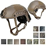Lancer Tactical LARGE - X-LARGE Industrial ABS Plastic Constructed Maritime Helmet Adjustable Crown with 20mm Side Rail Adapter Velcro padding Stickers NVG Shroud Bungee Retention - DARK EARTH